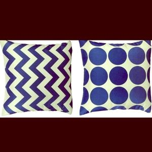 Other - NWOT Pair Navy Geometric Chevron Dot Pillow Covers